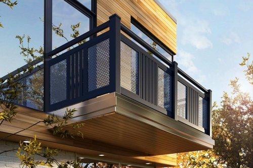 Balkongeländer von mit dem Modell Sölden in anthrazit, montiert ist der Balkon auf einem modernen Holzhaus