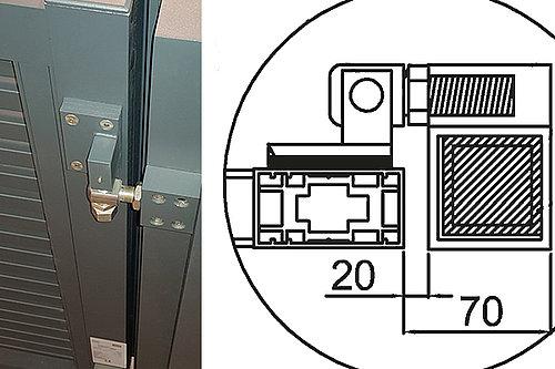 Skizze und Foto des GUARDI Comfortbandes, das große Öffnungswinkel bei Toren ermöglicht