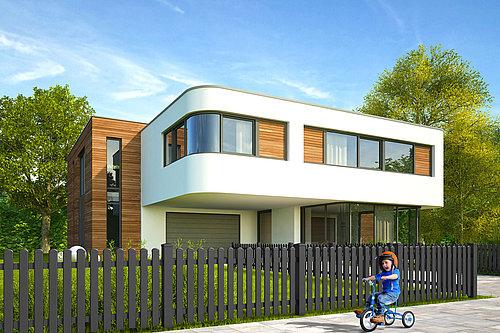 Lattenzaun mit Rundkappen in anthrazit, Modell Merlin von GUARDI, vor einem weißen, modernen Haus mit Holzelementen, Kind auf Dreirad fährt vor Zaun