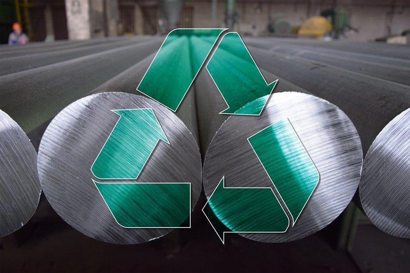 Grafik mit einem Kreislauf, der die Nachhaltigkeit von Aluminium zeigt
