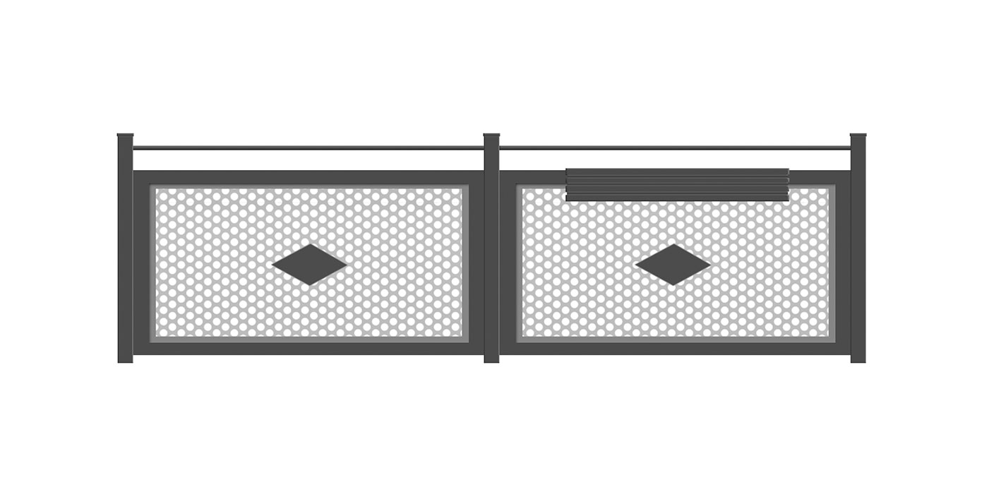 Balkon in anthrazit mit grauer Lochblechfüllung und Dekorelementen, Modell Loos, auf weißem Hintergrund
