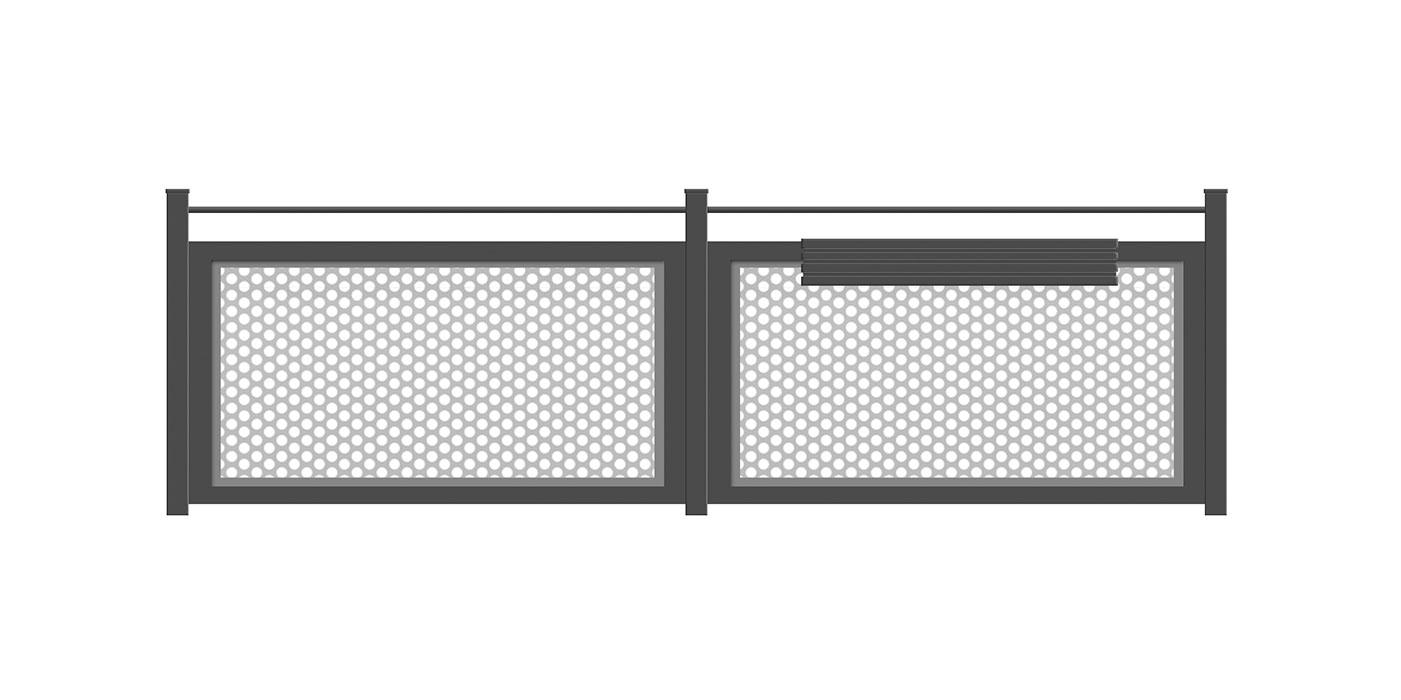 Balkon in anthrazit mit grauer Lochblechfüllung, Modell Loos, auf weißem Hintergrund
