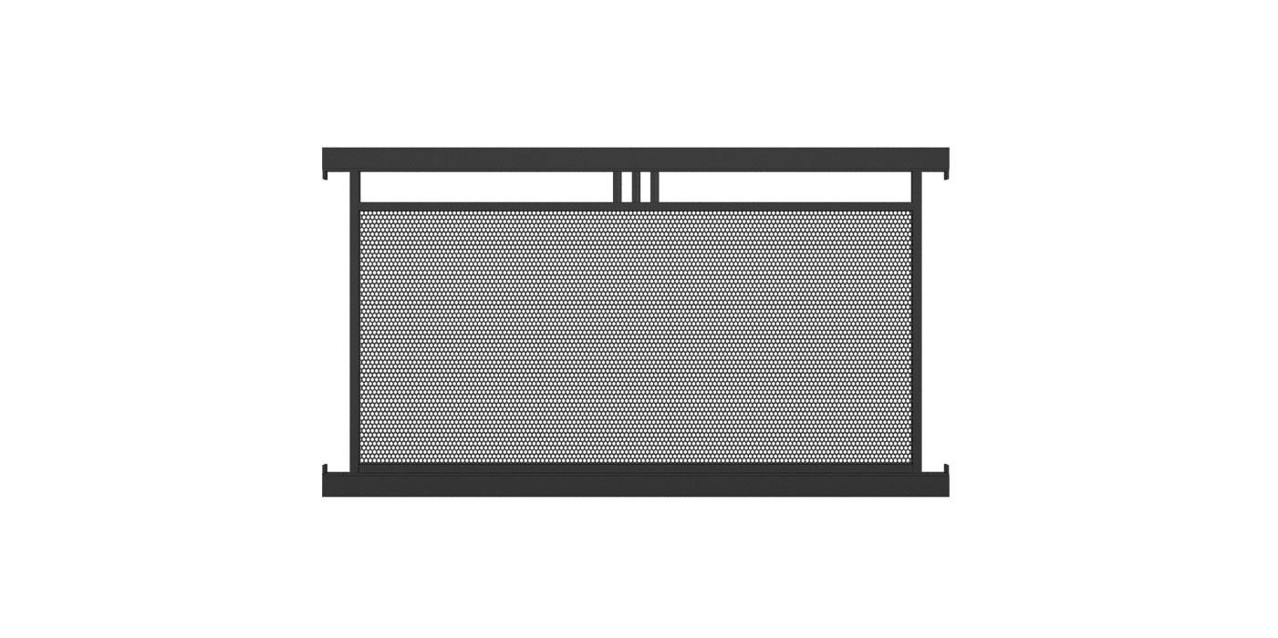 Zaunelement mit Lochblechfüllung einfach und Stabornament mittig in anthrazit, Modell Loskana, auf weißem Hintergrund