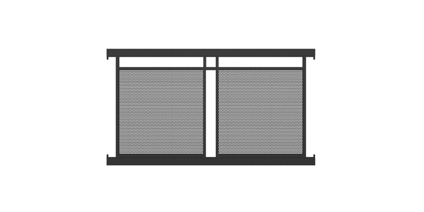 Zaunelement mit Lochblechfüllung zweifach in anthrazit, Modell Loskana von GUARDI, auf weißem Hintergrund