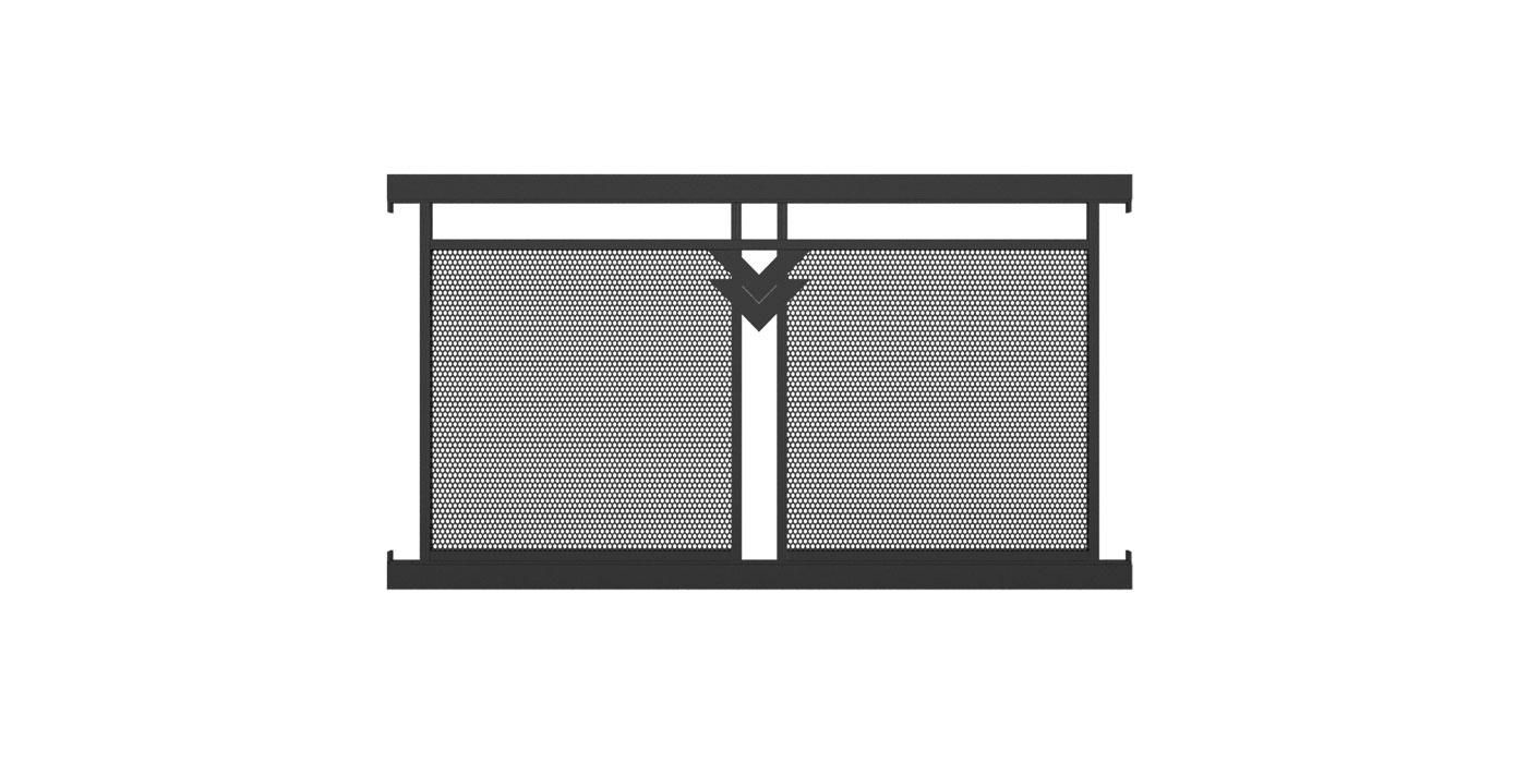 Zaunelement mit Lochblechfüllung zweifach und Doppel-V-Ornament in anthrazit, Modell Loskana, auf weißem Hintergrund