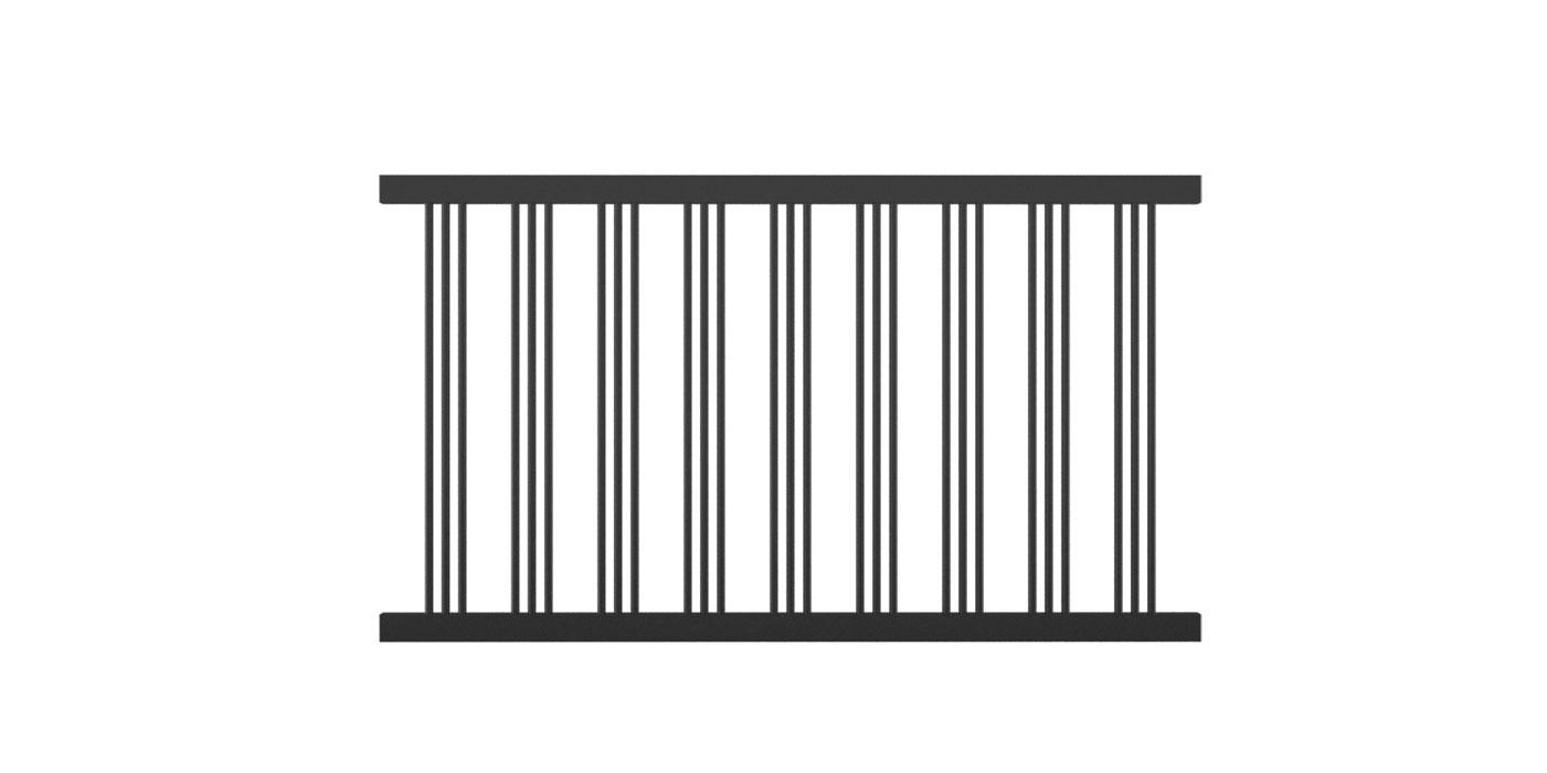 Rundstabzaunfeld mit 3-fach-Stäben mittig in anthrazit, Modell Parma, auf weißem Hintergrund